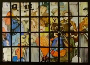 Painting of Victorian Singers in stained glass