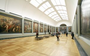 Art gallery with traditional oil paintings