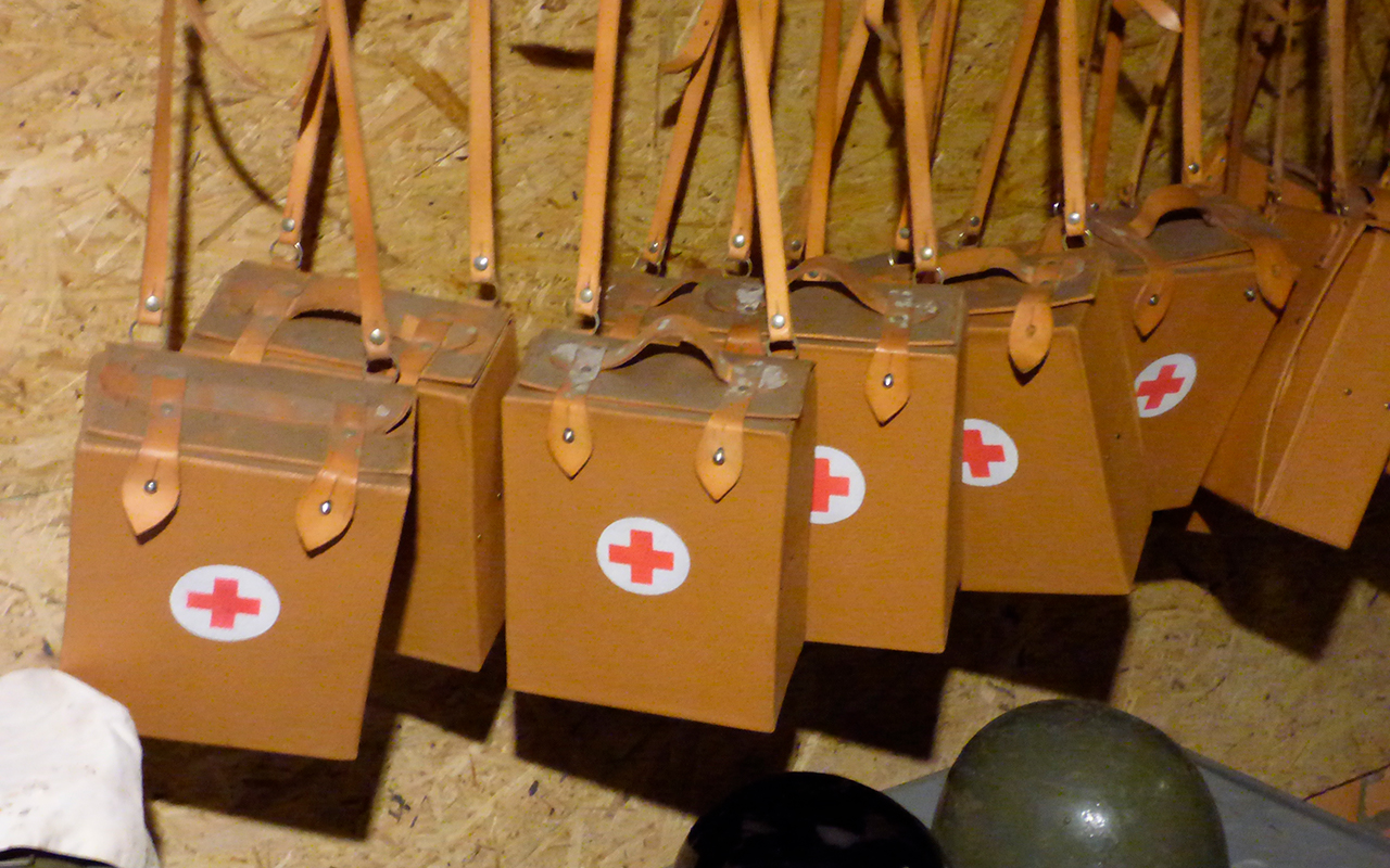 First aid boxes hanging