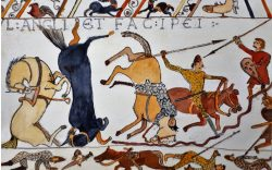 Tapestry of English and French soldiers die in battle - Potterne Art Group