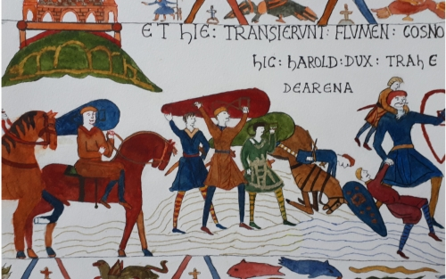 Tapestry of Harold rescues men from quick sands while on compaign with Duke William