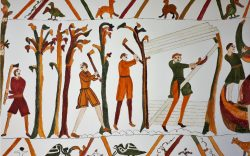 Tapestry of William's men cut down trees to make boats