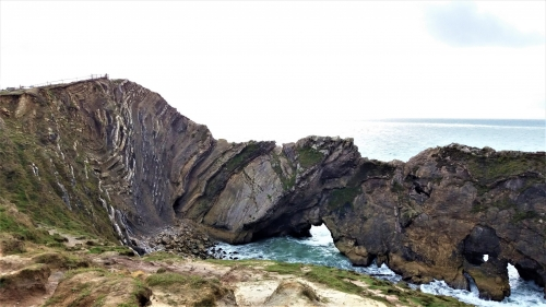 Lulworth Crumple folded Purbeck Group Beds and Stair Hole Portland Limestone